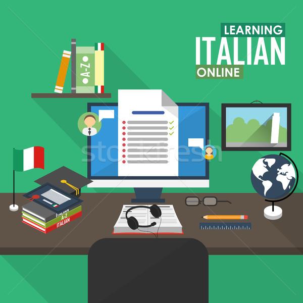 Italiaans taal ontwerp leren online Stockfoto © studioworkstock