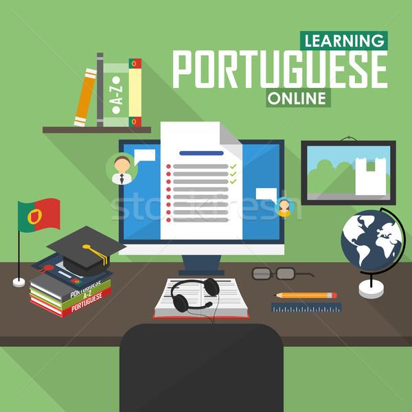 E-learning Portuguese language. Stock photo © studioworkstock