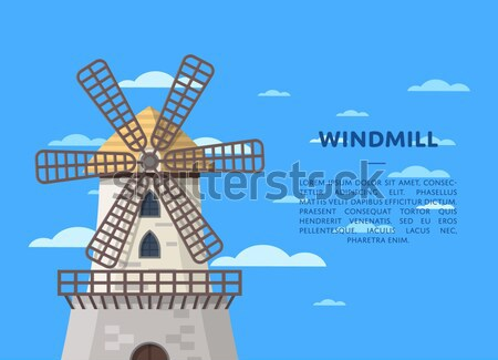 Ecological flour manufacturing banner with mill Stock photo © studioworkstock