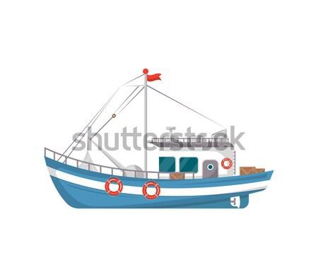рыбалки компания небольшой лодках Vintage Сток-фото © studioworkstock