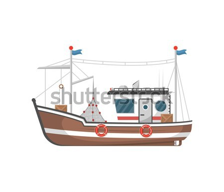 Vintage fishing trawler isolated on white icon Stock photo © studioworkstock