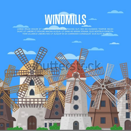 Welcome to Netherlands poster with windmills Stock photo © studioworkstock