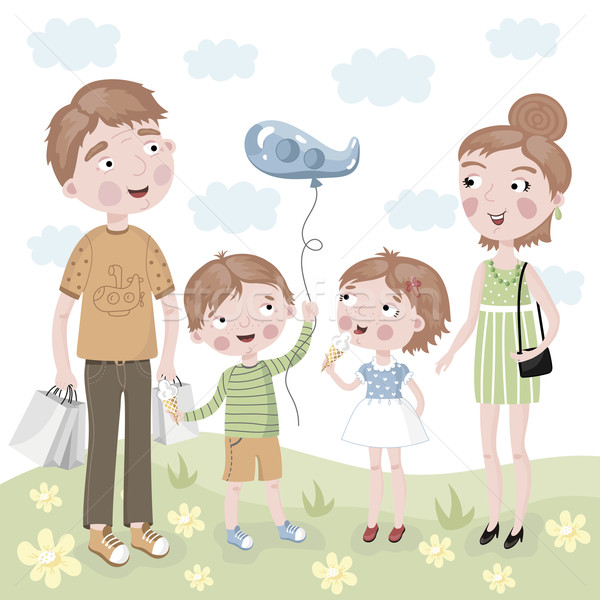 Család vásárlás vektor rajz stílus boldog család Stock fotó © studioworkstock