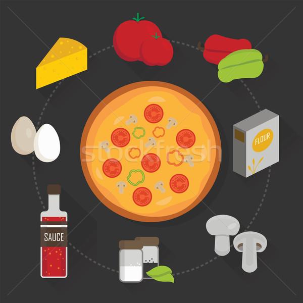 Folyamat főzés pizza szett hozzávalók vektor Stock fotó © studioworkstock