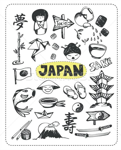 Doodle ingesteld Japan beroemd objecten potlood Stockfoto © studioworkstock