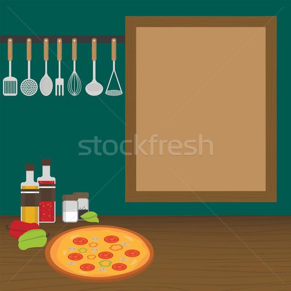 Stockfoto: Keuken · muur · achtergrond · vork · koken