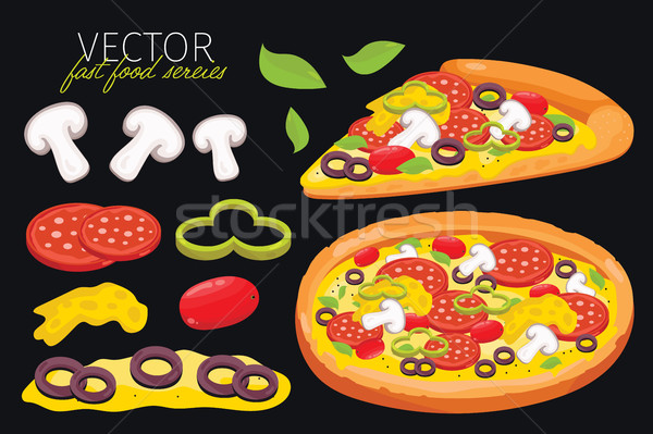 Isolated vector mushrooms pizza. Fast food set. Stock photo © studioworkstock