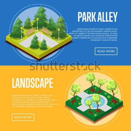 Natural farming isometric horizontal flyers Stock photo © studioworkstock
