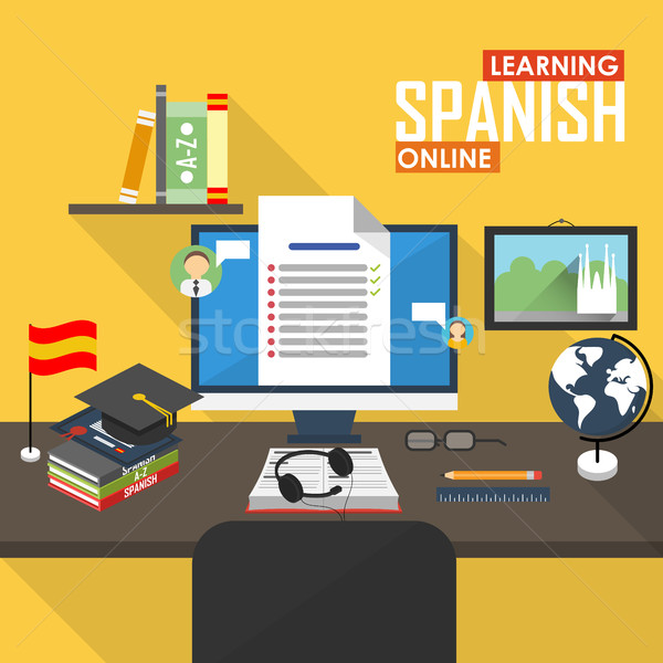 E-learning Spanish language. Stock photo © studioworkstock