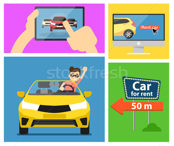 Voiture bannières louer voitures commerce Photo stock © studioworkstock