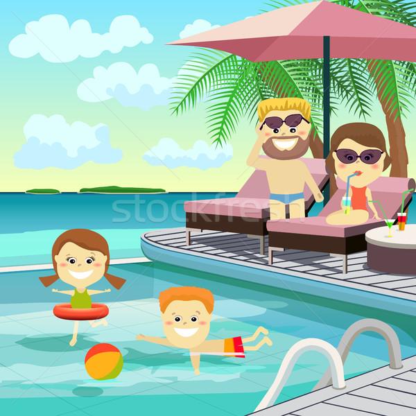 семьи уик-энд вокруг бассейна праздник детей Сток-фото © studioworkstock