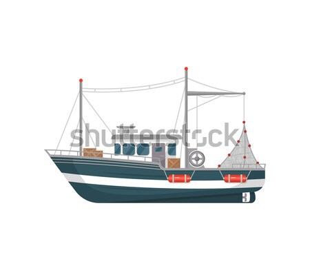 Fishing trawler isolated on white icon Stock photo © studioworkstock