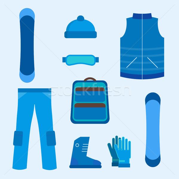 Snowboard infographics elemanları simgeler vektör Stok fotoğraf © studioworkstock