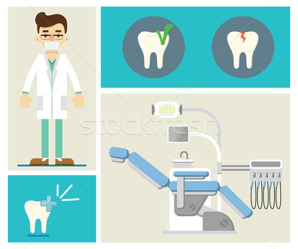 Foto stock: Establecer · dentales · infografía · clínica · diente