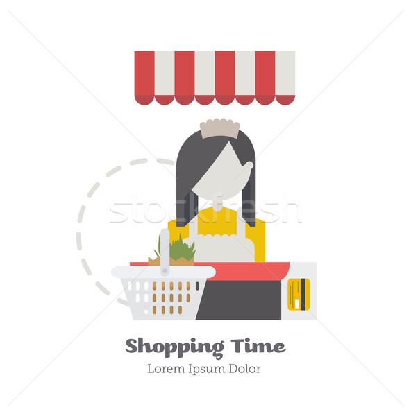 продавец девушки за борьбе Корзина кредитных карт Сток-фото © studioworkstock