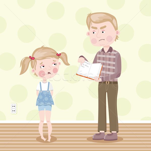The girl was blamed for poor homework. Vector. Stock photo © studioworkstock