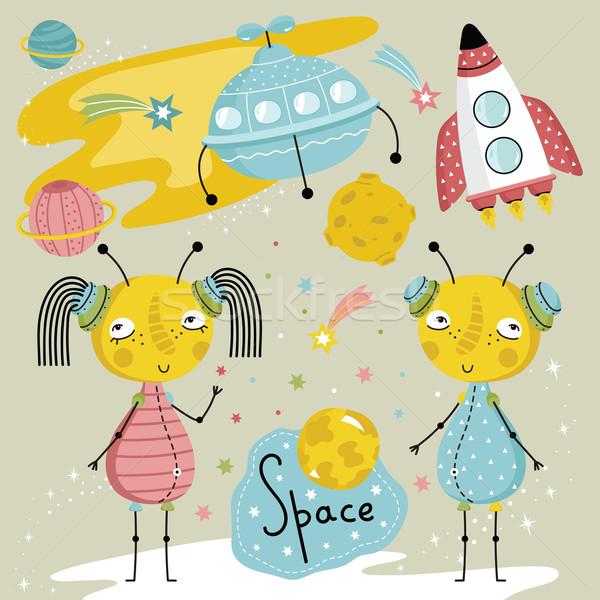 Cartoon illustration about space. Stock photo © studioworkstock