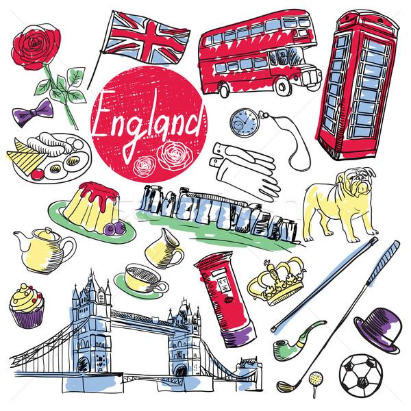 Vector set of tourist attractions England. Stock photo © studioworkstock