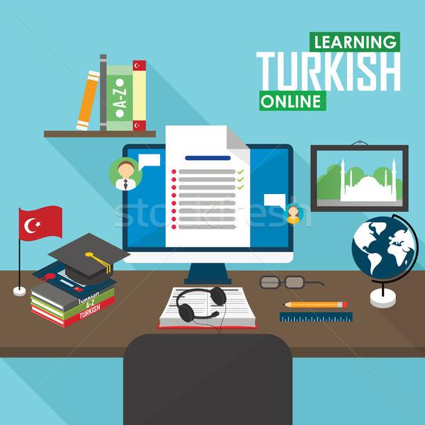 Turks taal ontwerp leren online Stockfoto © studioworkstock