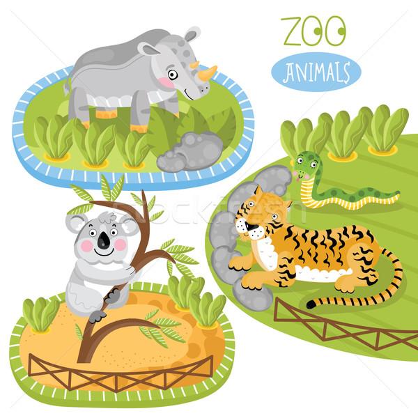 Zestaw wektora zwierząt zoo zwierzęta panda Tygrys Zdjęcia stock © studioworkstock