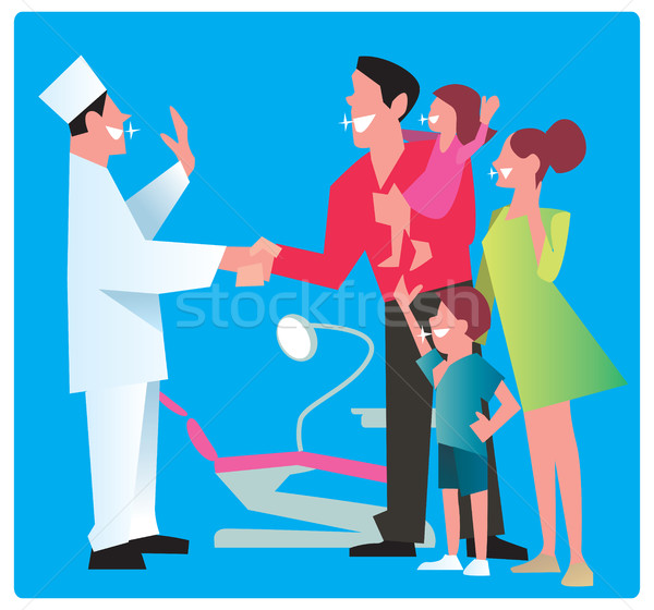 Famille heureuse remerciements dentiste sourire bon Photo stock © studioworkstock