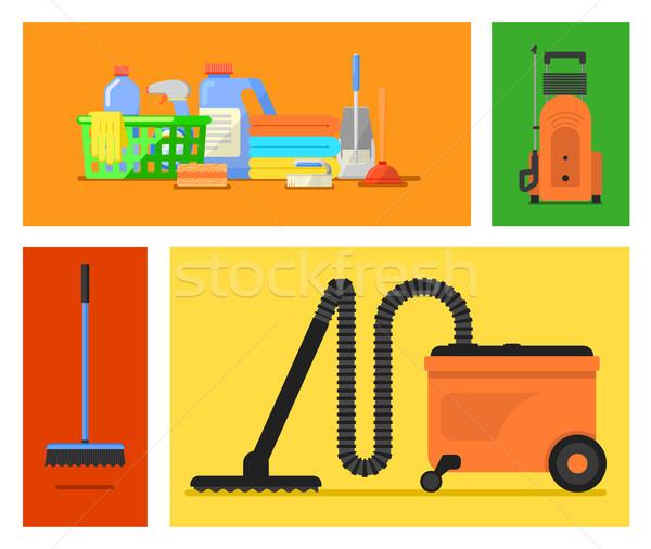 Vektör ayarlamak temizlik araçları hizmet Stok fotoğraf © studioworkstock
