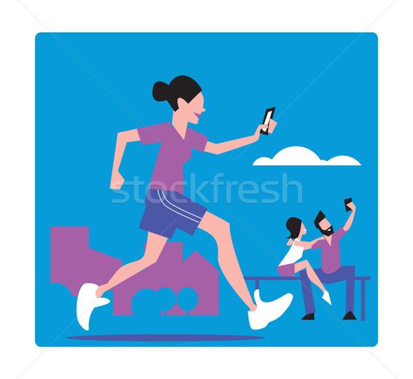 人 異常な 若い女の子 ジョギング 電話 ストックフォト © studioworkstock