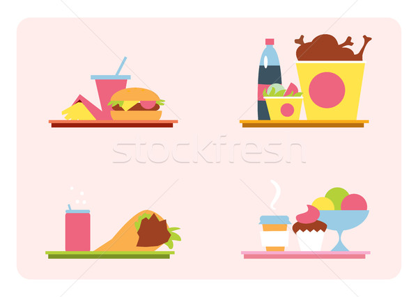 Sets with fast food on a tray Stock photo © studioworkstock