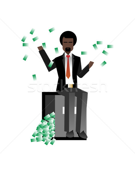 African bearded businessman sitting on bank safe Stock photo © studioworkstock
