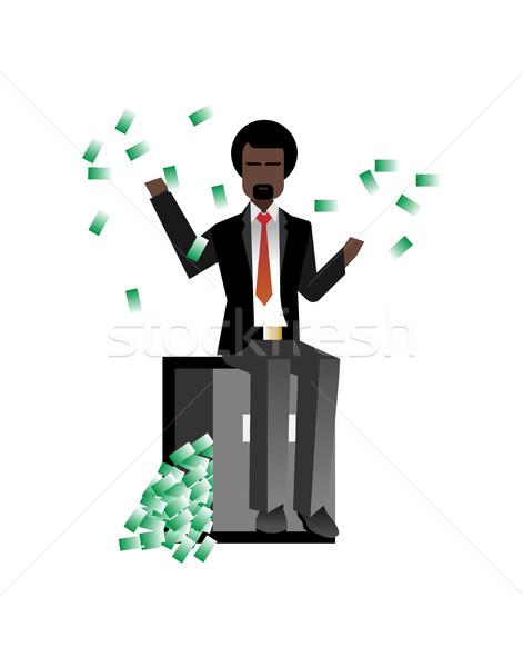Afrikaanse bebaarde zakenman vergadering bank veilig Stockfoto © studioworkstock