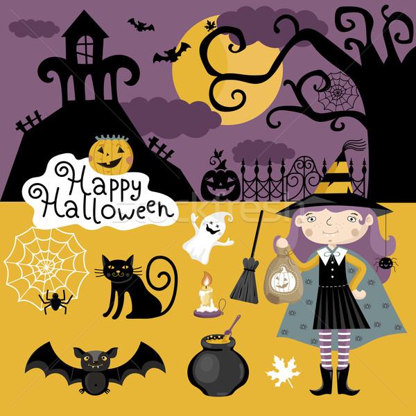 Foto d'archivio: Set · tradizionale · elementi · halloween · grande · cap