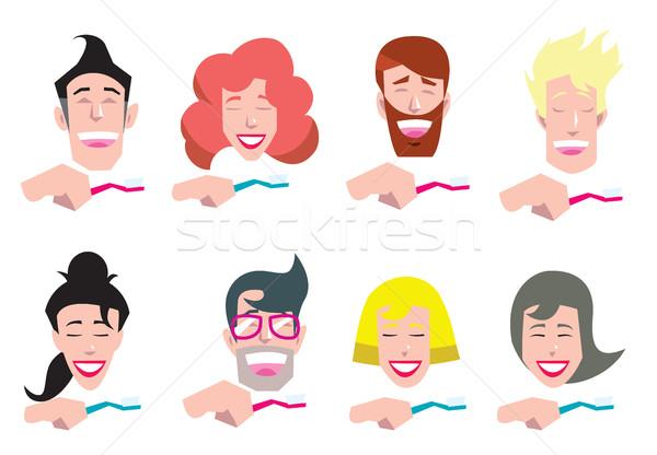 ストックフォト: 人 · 洗浄 · 歯 · セット · 歯ブラシ · 医師