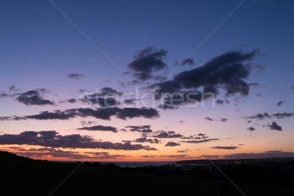 Ciel tête coucher du soleil nuages Photo stock © suerob