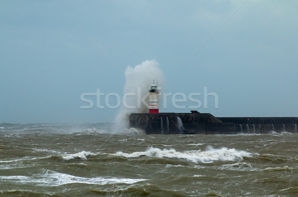Stock photo: Newhaven Lighthouse and Spray