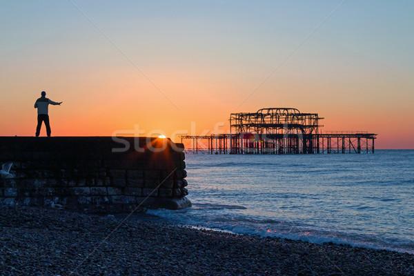 тай-чи Восход человек Запад пирс Сток-фото © suerob