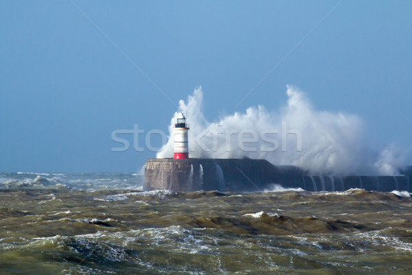 Stock photo: Newhaven Lighthouse with Waves in Sun