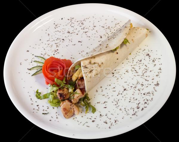 Kebab török fehér tányér kivágás vágási körvonal Stock fotó © Suljo