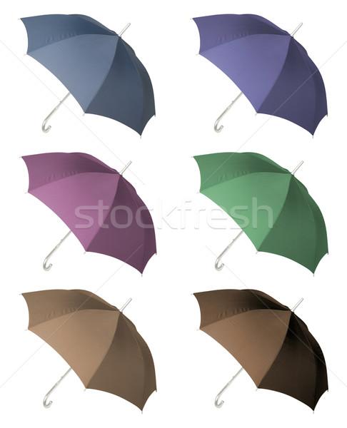 Zes parasols geïsoleerd witte vallen veiligheid Stockfoto © Suljo