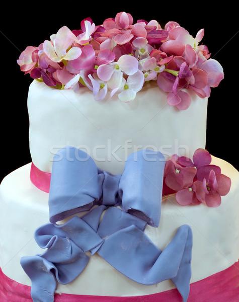 Esküvői torta izolált sötét étel torta cukorka Stock fotó © Suljo
