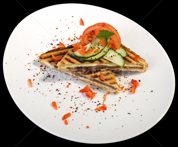 Torrado sanduíches branco prato isolado preto Foto stock © Suljo