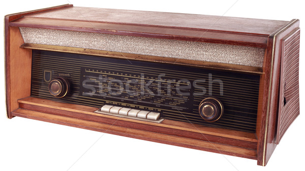 Vecchio legno radio apparato isolato Foto d'archivio © Suljo