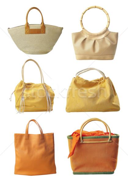 Zes zakken handtas geïsoleerd witte schoonheid Stockfoto © Suljo