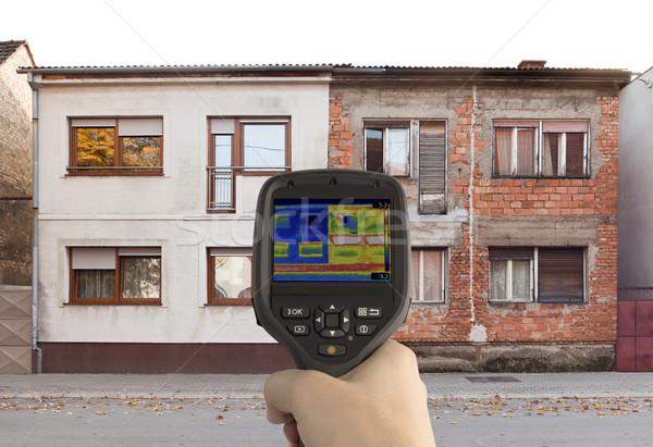 Energie-efficiëntie warmte verlies vergelijking infrarood camera Stockfoto © Suljo