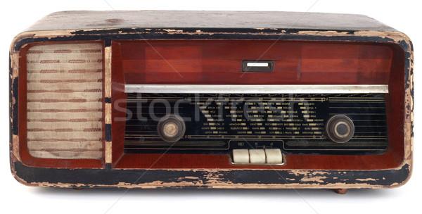 Vecchio legno radio vintage isolato bianco Foto d'archivio © Suljo