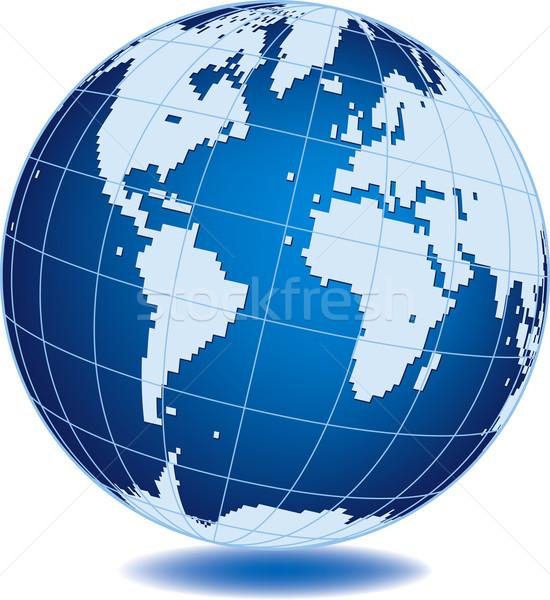 Földgömb egyszerűsített világ izolált fehér üzlet Stock fotó © Suljo