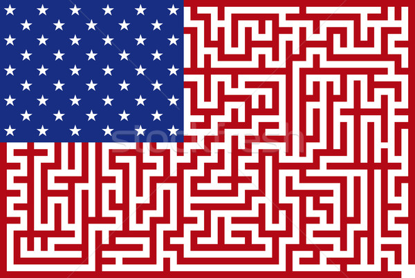 Conceptual American maze flag Stock photo © Suljo