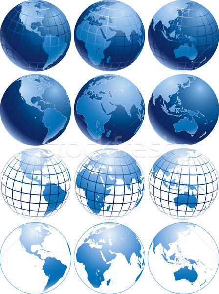 синий глобусы три различный земле Сток-фото © Suljo