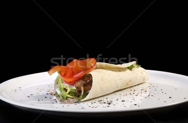 Kebab tortilla traditioneel turks plaat geïsoleerd Stockfoto © Suljo