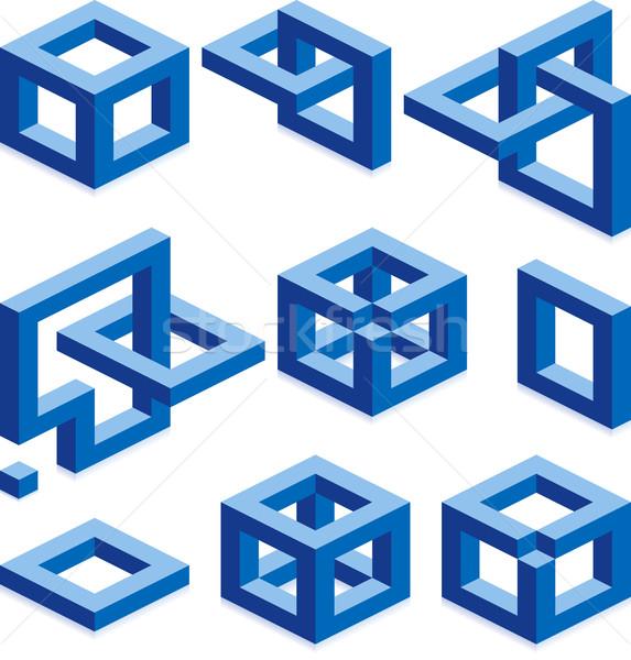 Costruzione elementi cubo vettore segni business Foto d'archivio © Suljo