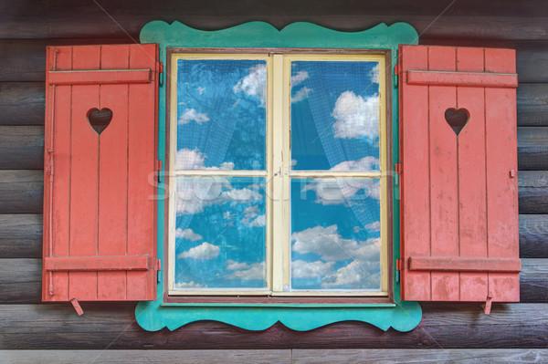 Wooden Chalet Window Stock photo © Suljo